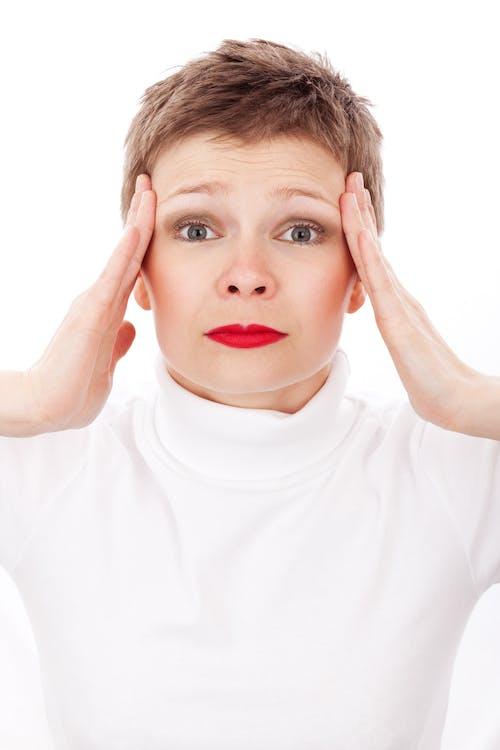 bekymret, hovedpine, kvinde