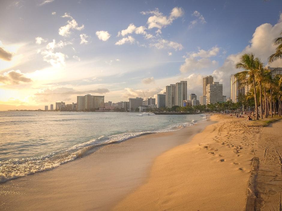 beach, buildings, city