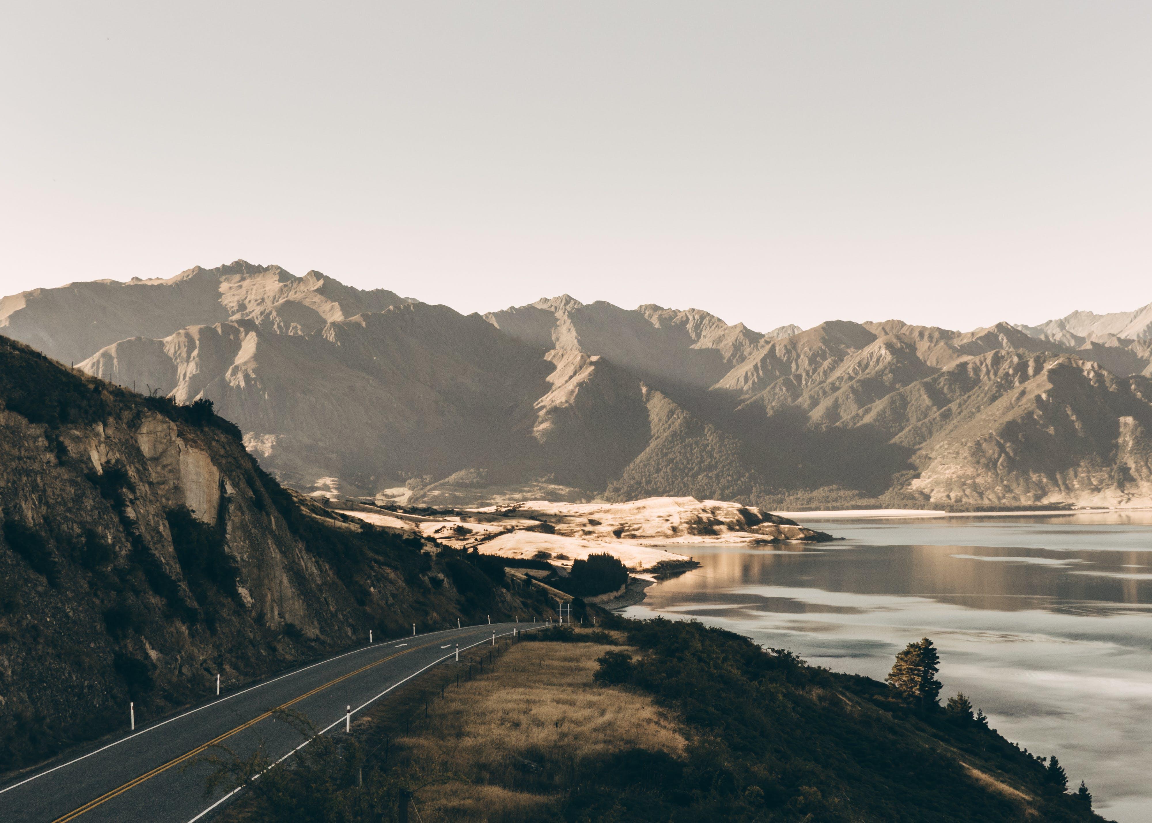 asphalt, cliff, foggy