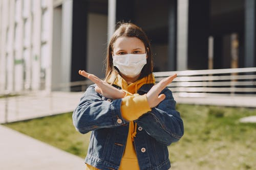 Girl in Blue Denim Jacket Wearing Brown Mask