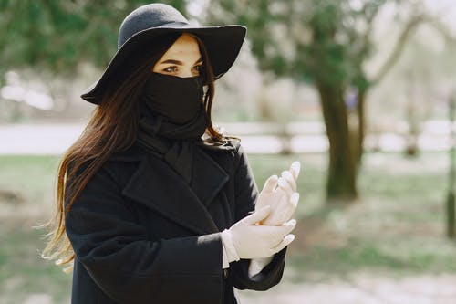 Woman in Black Coat and Black Hijab