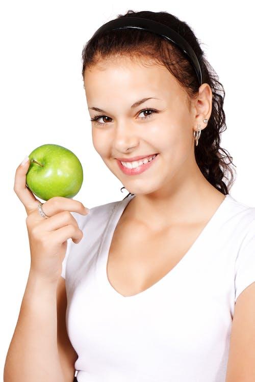 äpple, frukt, kvinna