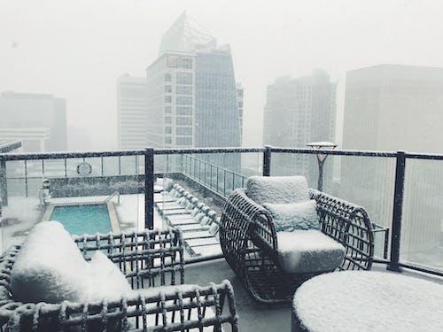 Free stock photo of big city, city background, heavy snowfall