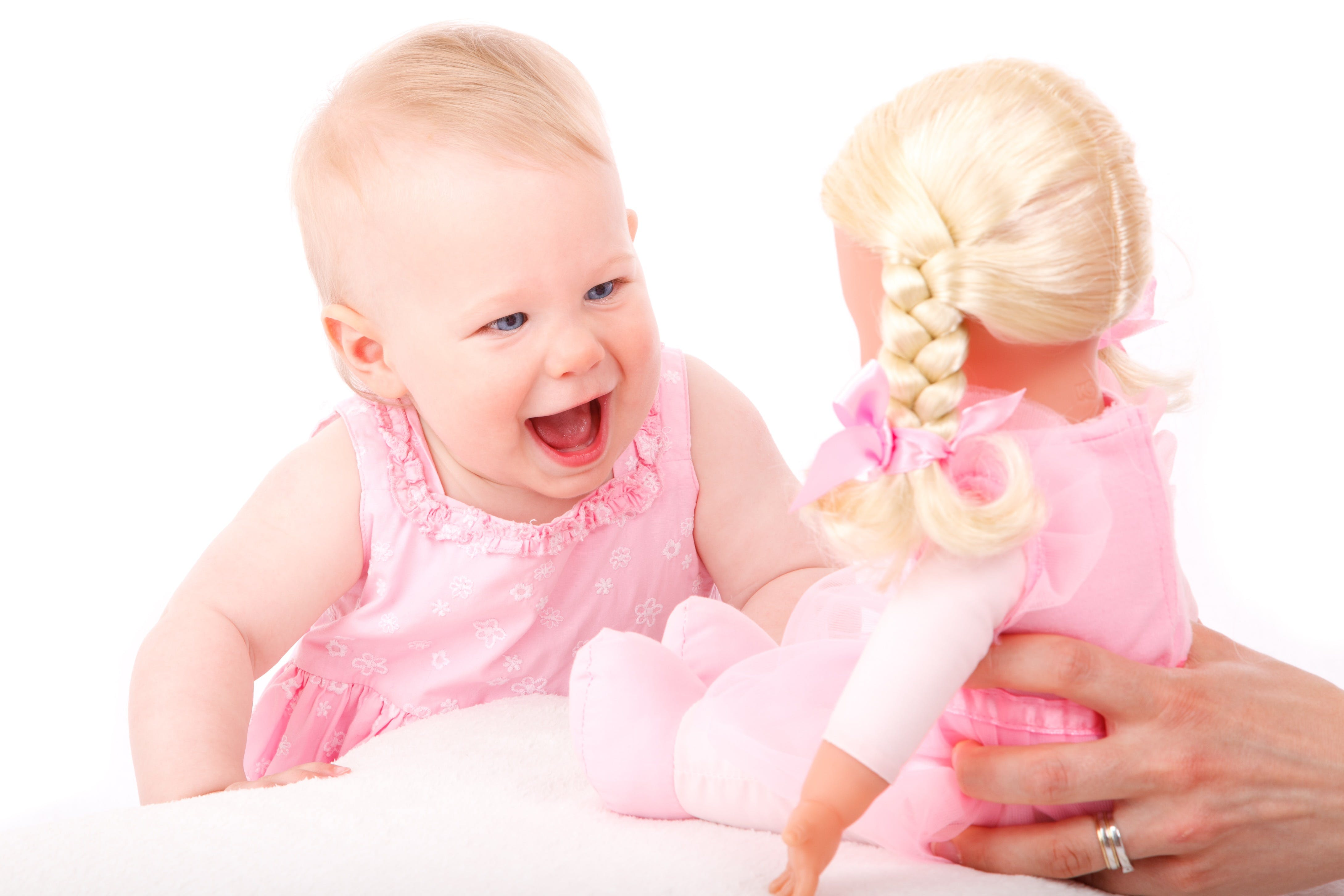 Baby's Pink Tank Dress and Doll Wearing Pink Dress