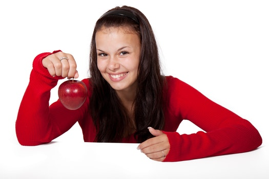 Free stock photo of food, red, apple, girl