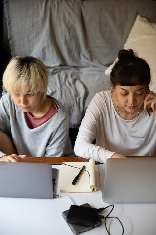 Pensive multiethnic girlfriends typing on laptops while studying at home