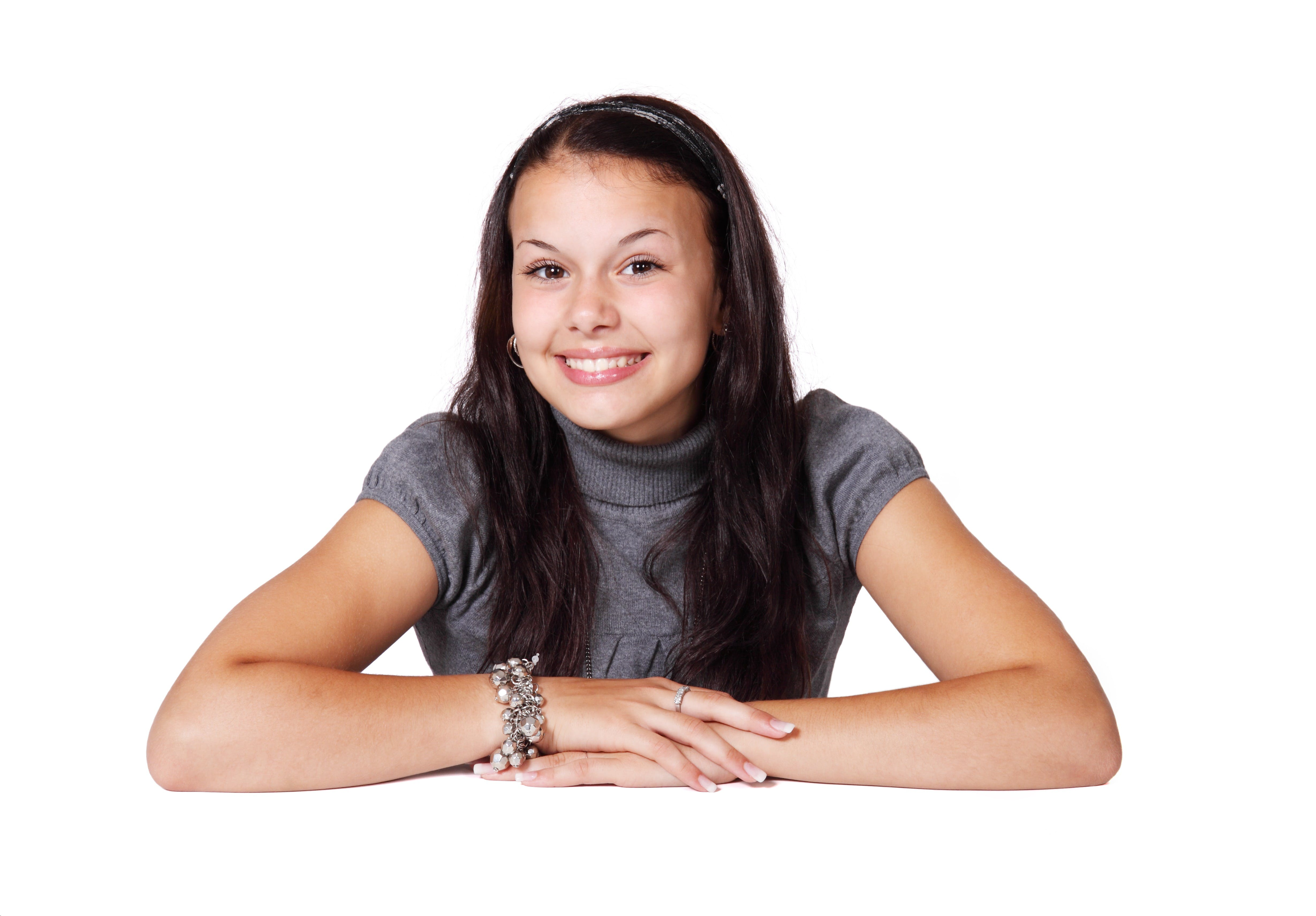 Smiling Brunette Girl in Gray