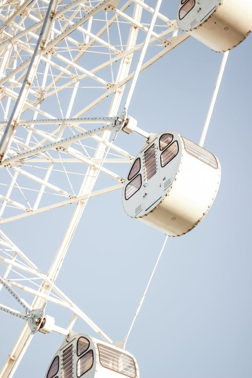 From below of modern white Ferris wheel with empty cabins against clear blue sky