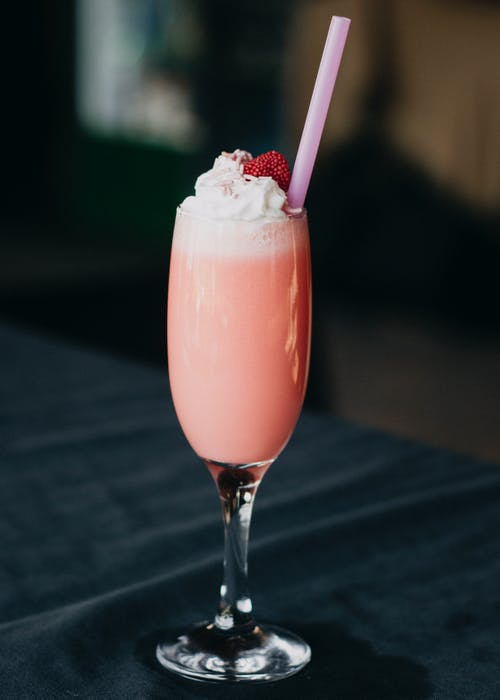 Clear Drinking Glass With Strawberry Shake