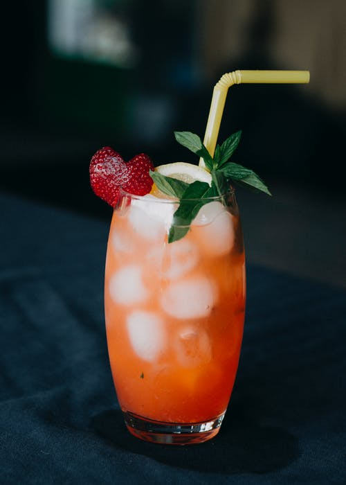 Strawberry Juice in Clear Drinking Glass