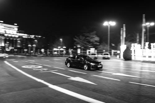 Imagine de stoc gratuită din alb-negru, automobil, bnw, expunere lungă