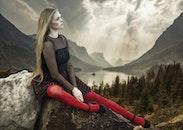 mountains, fashion, person