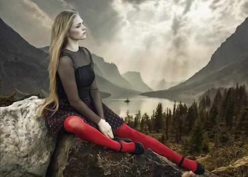 Free stock photo of mountains, fashion, person, woman