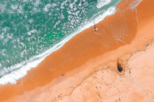 Aerial View of Person on Beach