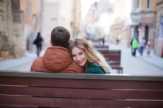 Free stock photo of bench, man, love, woman