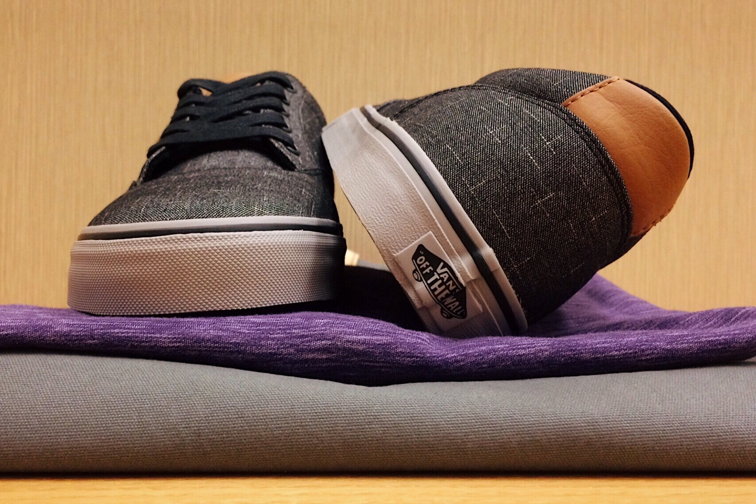 Pair of Gray-and-white Vans Low-top Sneakers