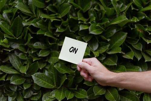 Person Holding a Card with On Text