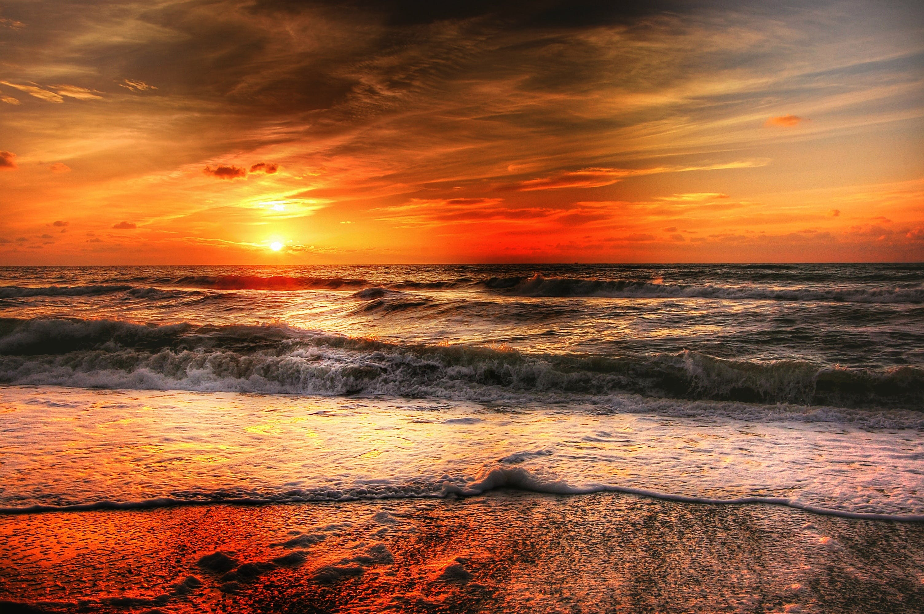 Sea Waves and Sunset
