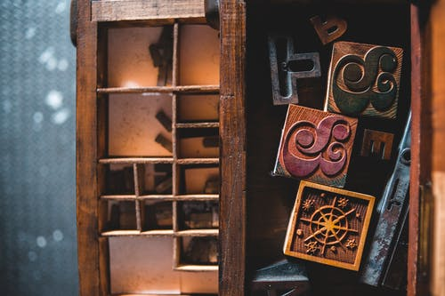 Old cabinet drawers with retro letterpress