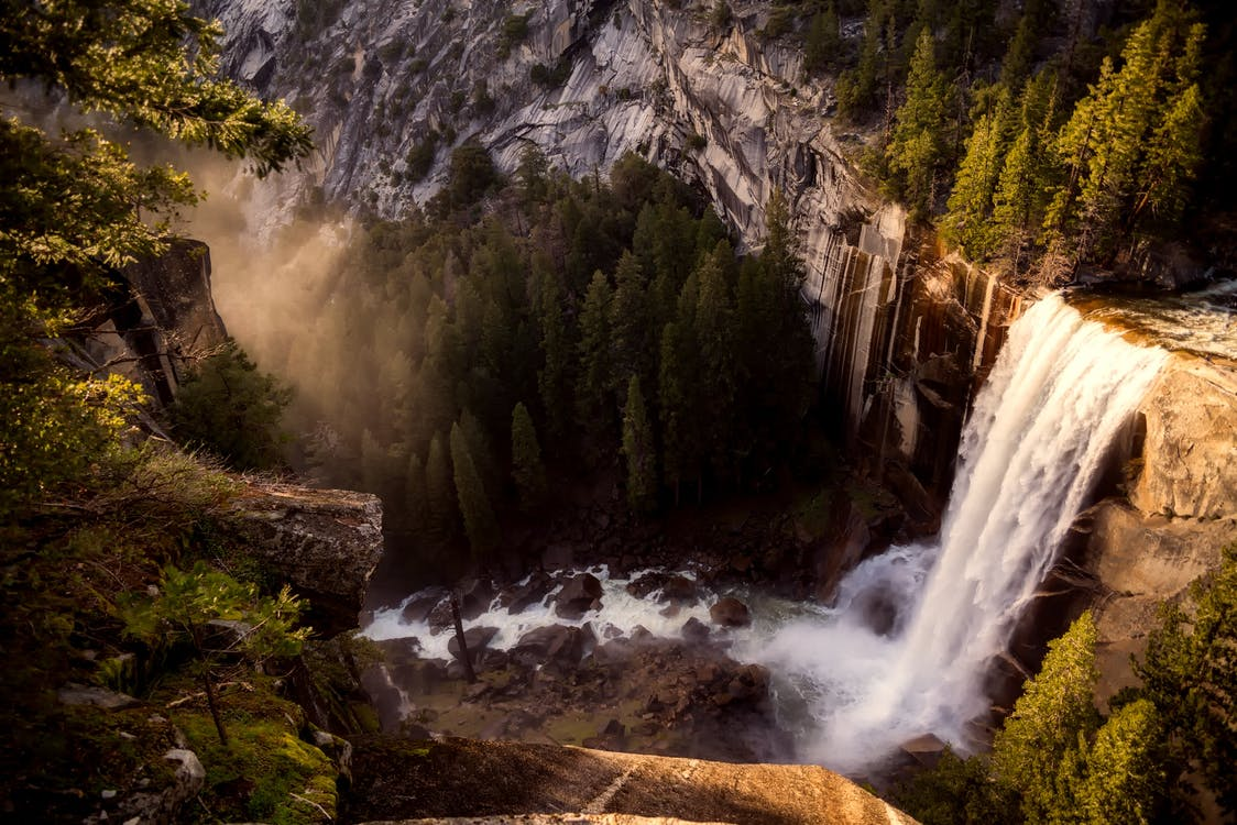 Aerial Photography of Water Falls and Mountains
