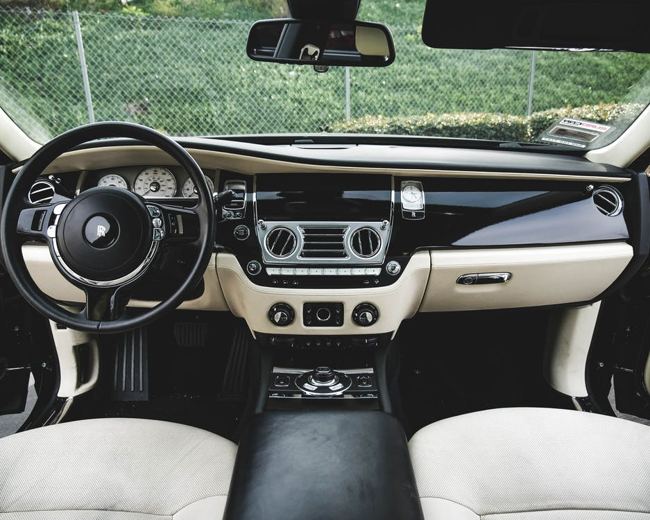 Stylish interior of expensive modern car