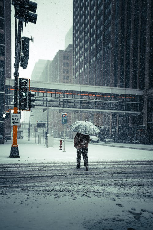 Person in Winter Coat Holding Umbrella Walking on Snow Covered Road