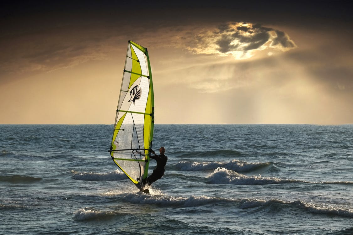 Man Riding on Wind Surfing