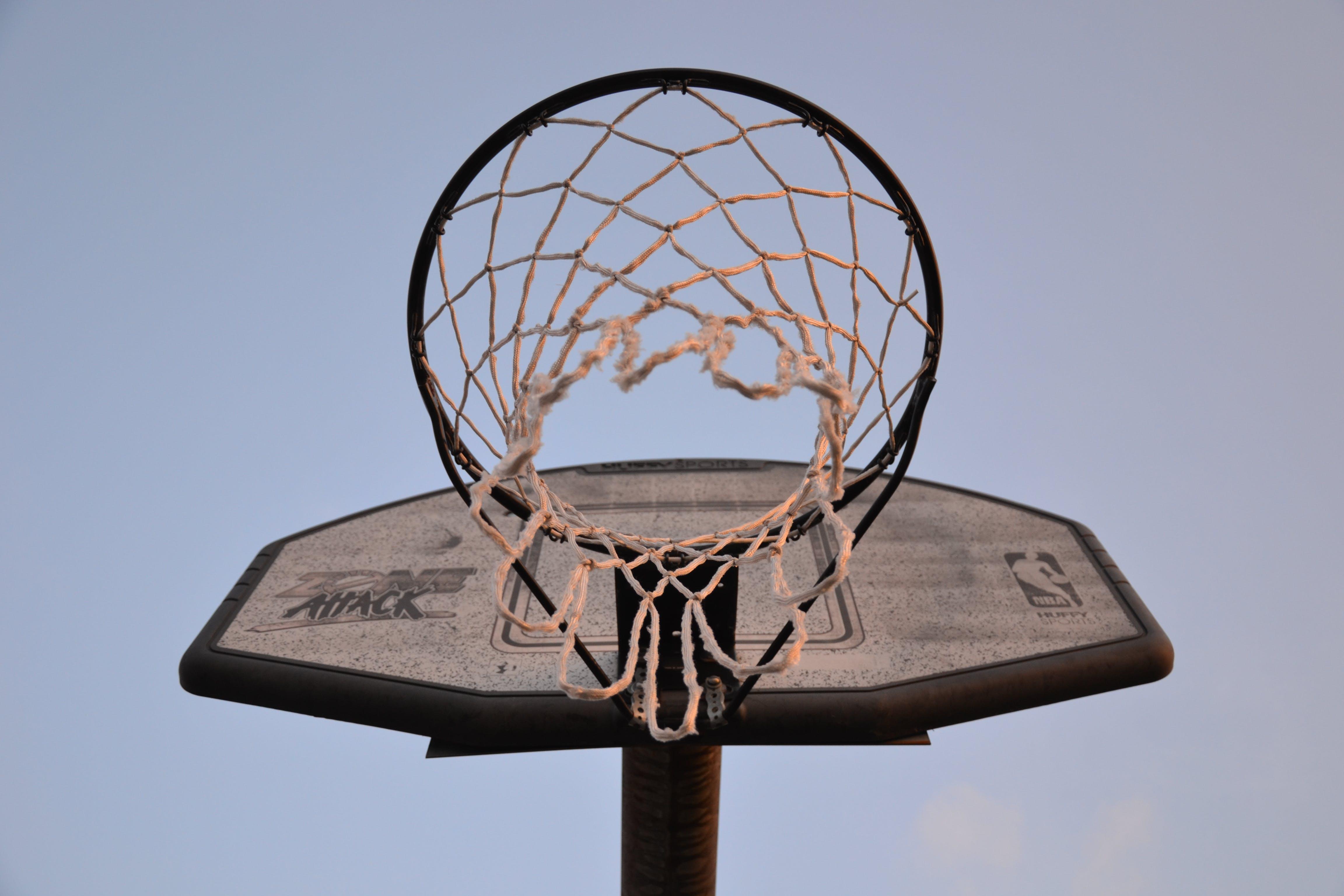 Low-angle Photography of Brown and Black Basketball Hoop