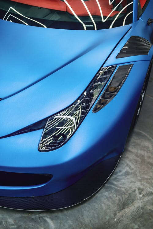 Details of expensive blue sports car