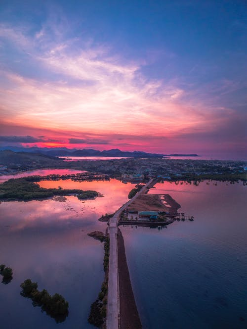 Aerial View of Body of Water during Sunset