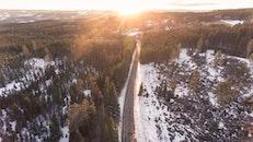 snow, road, dawn