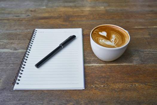 Free stock photo of cup, mug, notebook, pen