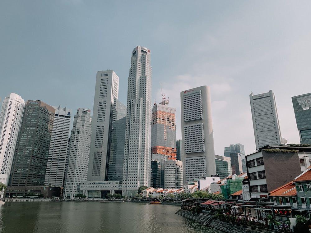 Modern buildings in downtown of megapolis