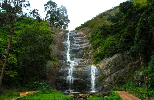 High rocky slope with waterfall and green plants