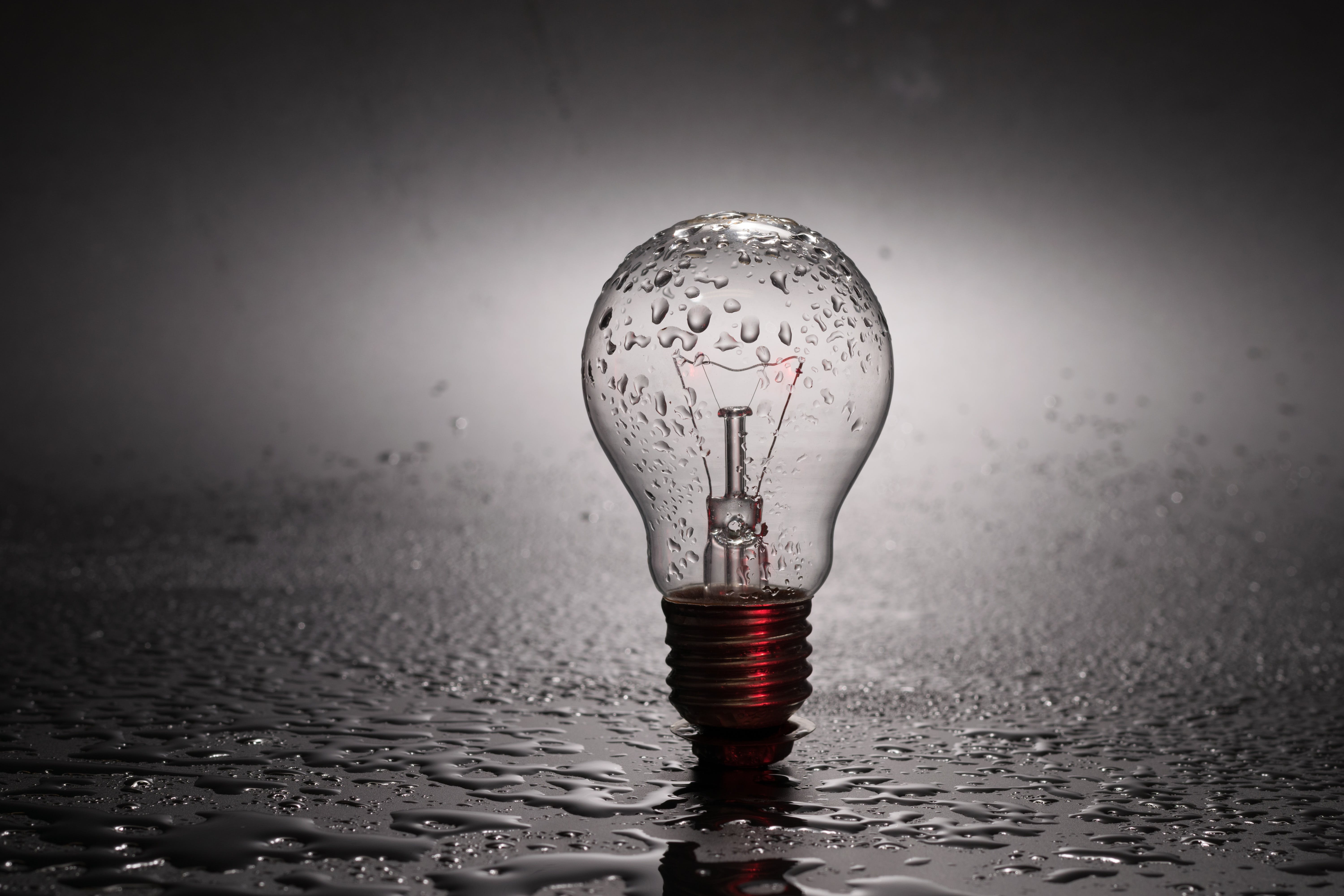 Clear Light Bulb With Water Dew