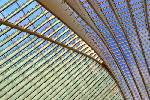 Clear Glass Roof With Gray Steel Frames