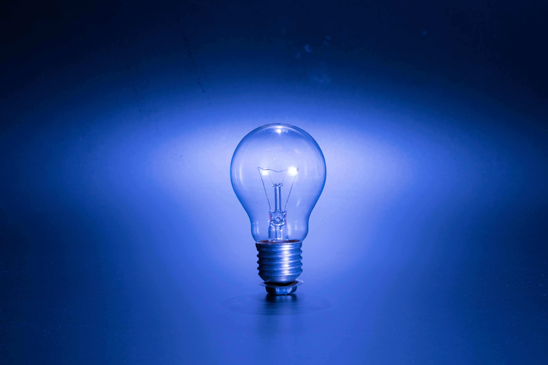 Turned-on Blue Edison Bulb