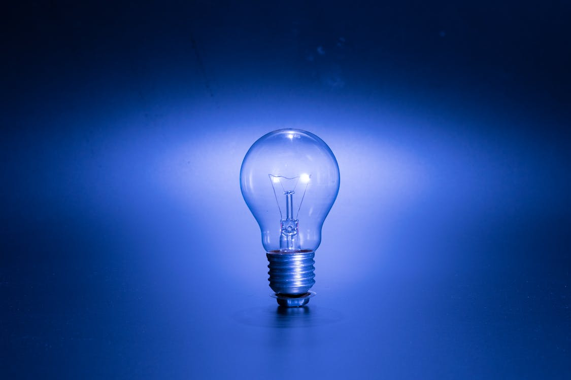 Turned-on Blue Edison Bulb