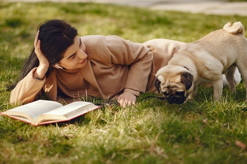Relaxed woman with book in park and pug