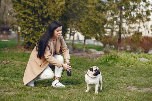 Woman in Brown Coat Sitting on Green Grass Field With Her Dog