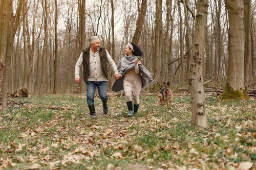Happy elderly couple walking in forest with dog