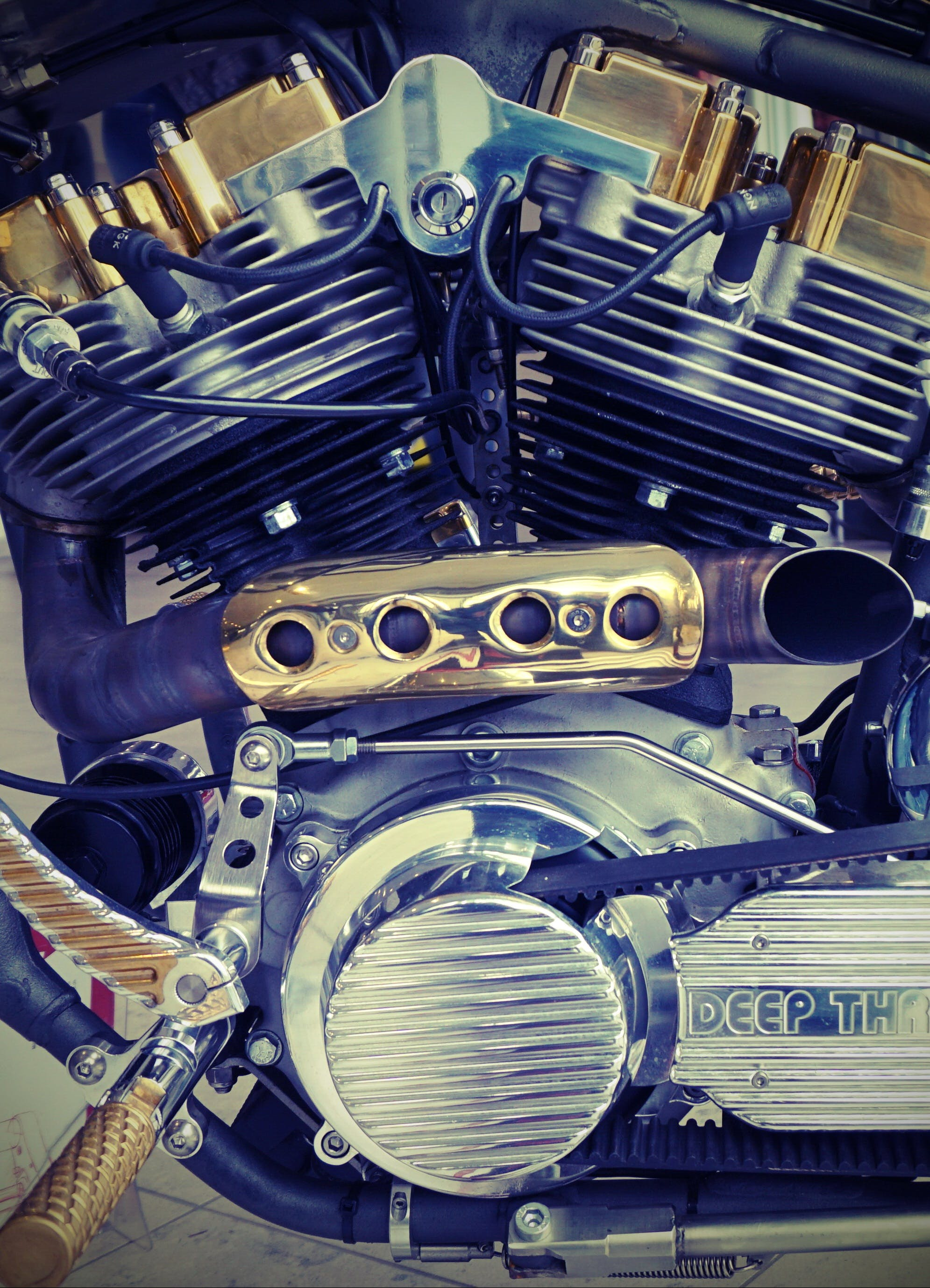 Closeup Photography of Motorcycle Engine
