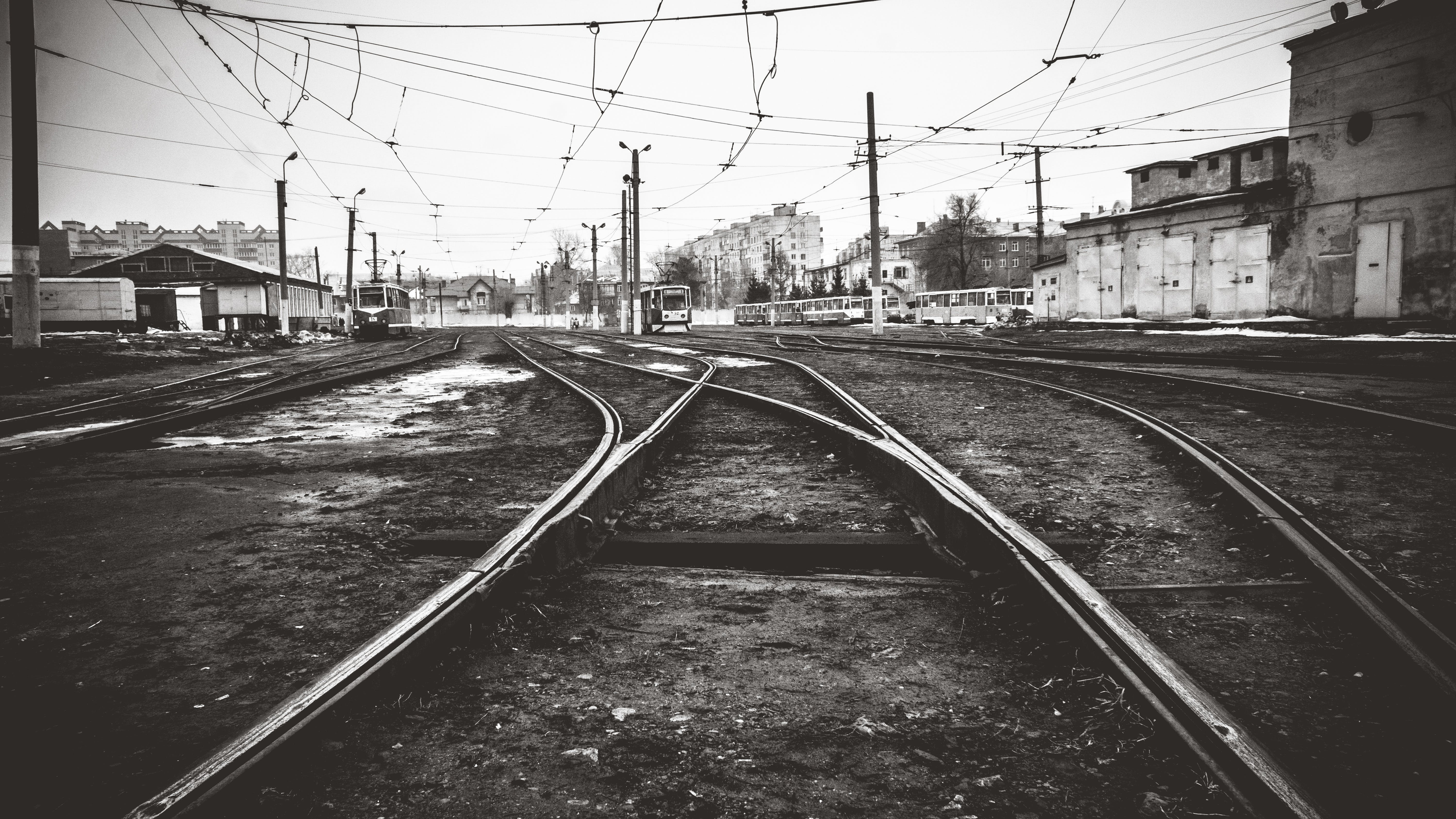 Grayscale Photography of Railway