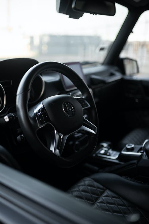 Black Mercedes Benz Steering Wheel