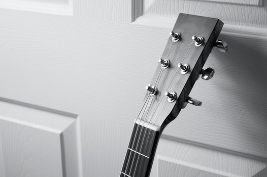 Free stock photo of black-and-white, music, musical instrument, guitar
