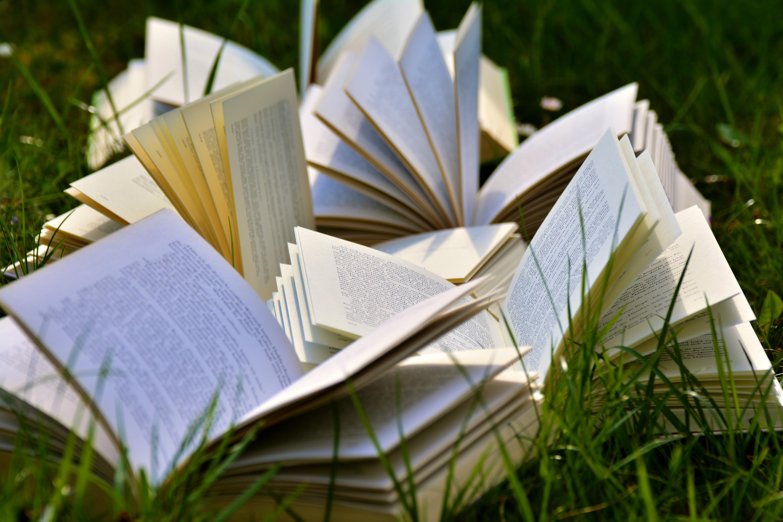 Open Books on Grass Field