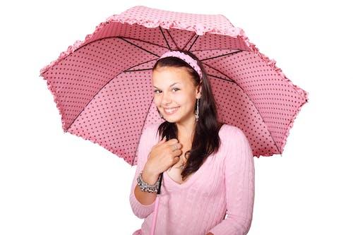 Smiling Woman Wearing Pink Shirt Under Pink-and-black Umbrella
