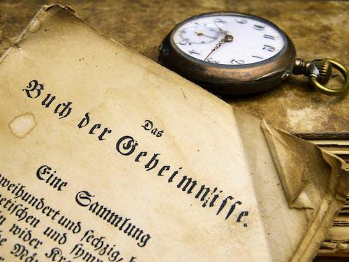 Antik, bağbozumu, belge, cep saati içeren Ücretsiz stok fotoğraf