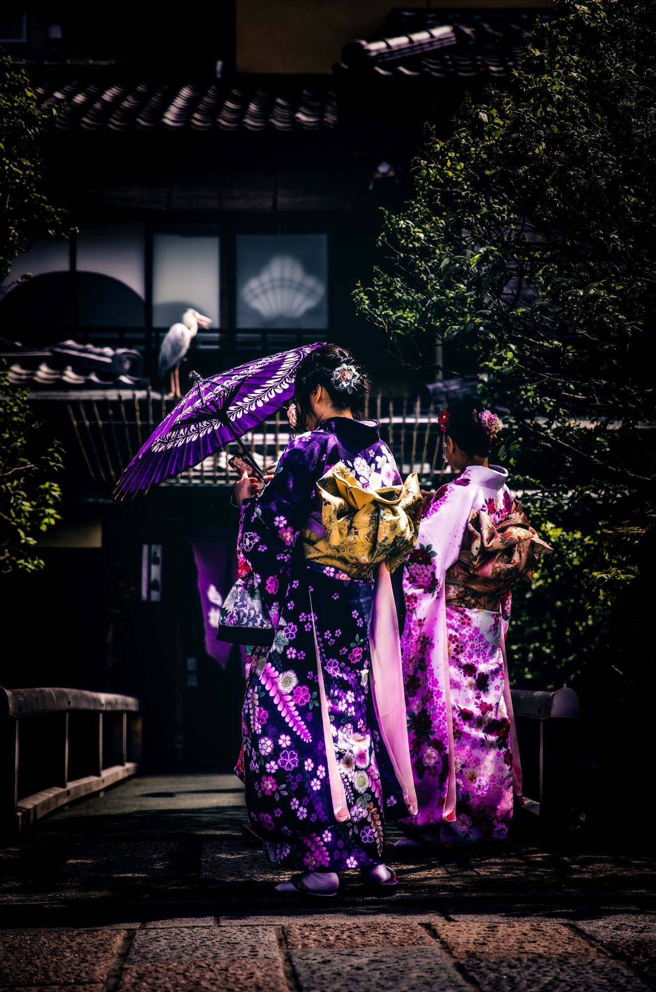 Geisha Holding Umbrella