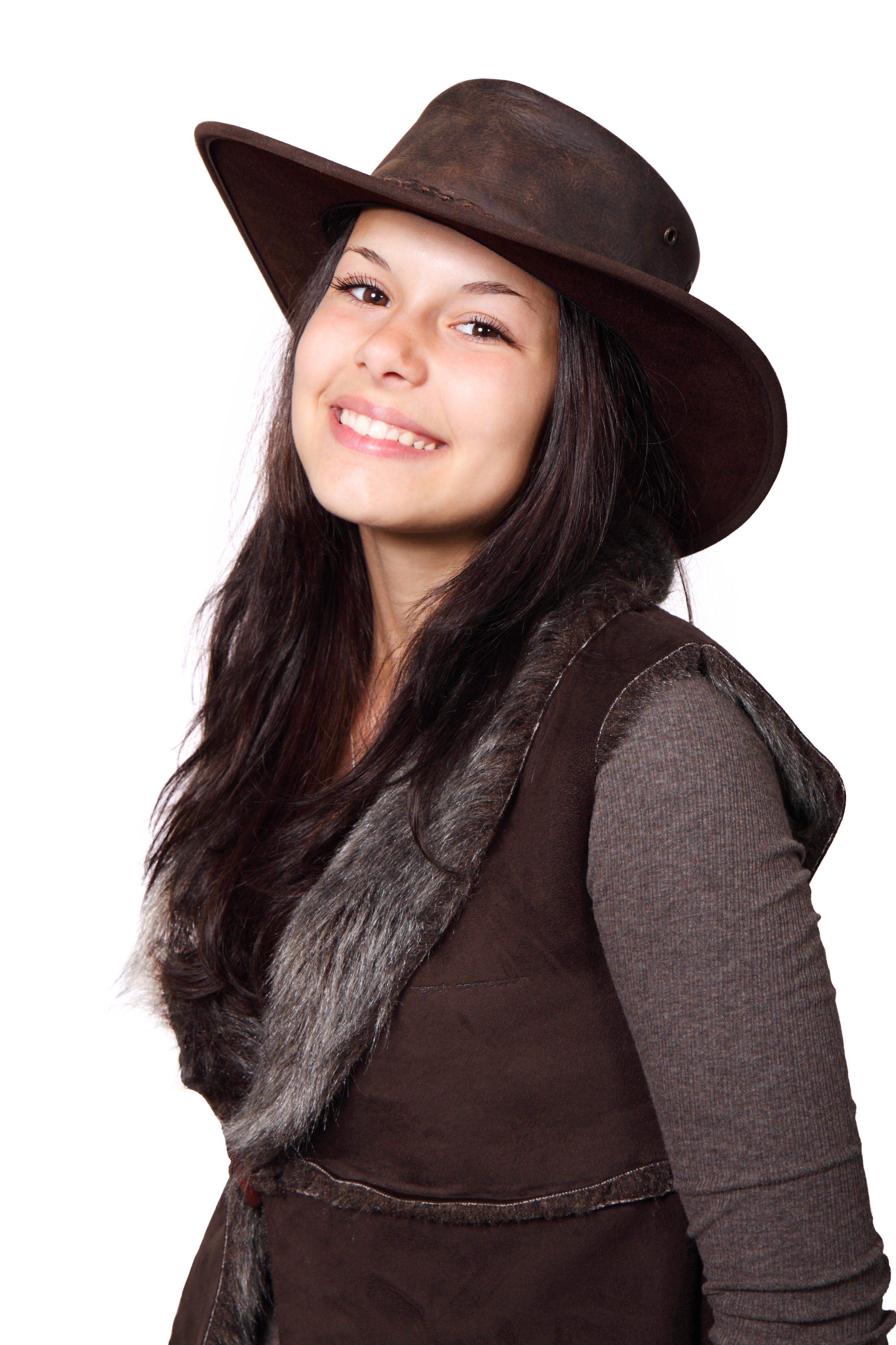 Základová fotografie zdarma na téma brunetka, hnědá, holka, klobouk